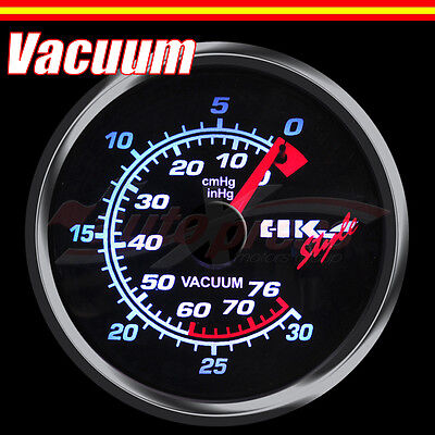 JDM 60mm 12V 270 Degree WHITE Light PERFORMANCE Auto Gauge Meter VACUUM RATIO