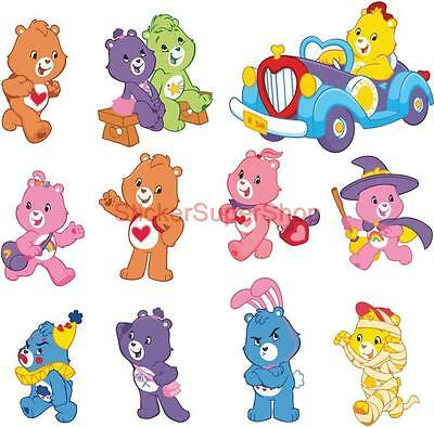 CARE BEARS 11 Strickers Decal Removable WALL STICKER Home Decor Art Kids Bedroom