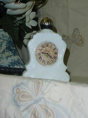 Avon Bottle Mantle Clock White Milk Glass