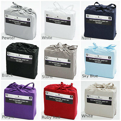 SOFT MICROFIBRE FITTED SHEET SET Single   King Single  Double  Queen   King Size