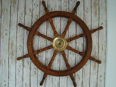 "36"" Wood / Brass Ship Wheel ~ Nautical Maritime Decor ~ Wooden Pirate Captain"
