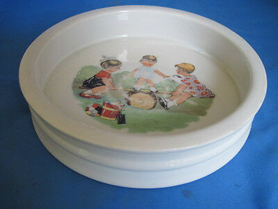 Vintage PK Unity Germany Porcelain Child Baby Bowl Plate Dish 3 Girls on Seesaw