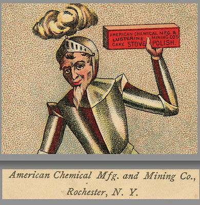 American Chemical Mfg & Mining Co Rochester Stove Polish Knight poem Trade CARD