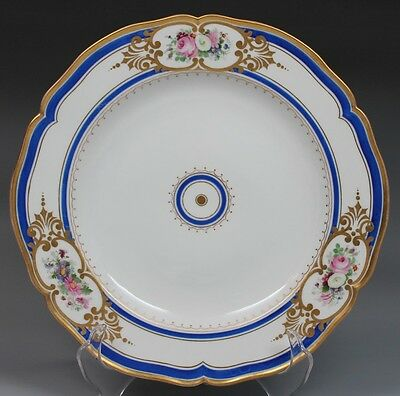 1849-1870 Marked KPM Gold Blue Painted Flowers Royal Berlin Porcelain Plate