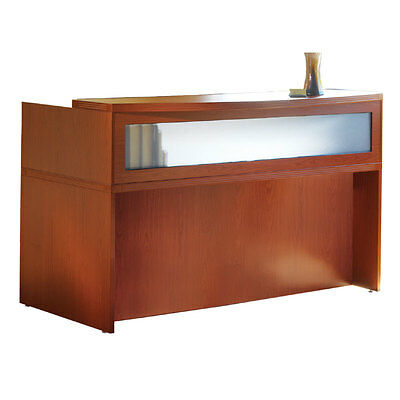 Cherry Finish Reception Desk with Textured Glass