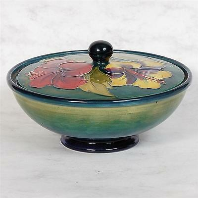 Signed Moorcroft Covered Dish - Hibiscus  Paper Label