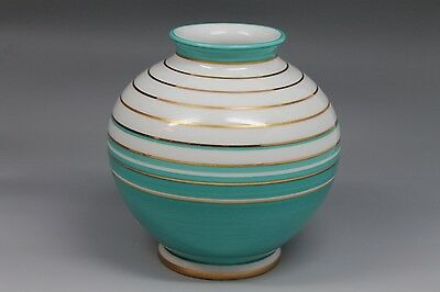 KPM Green or Teal Gold Striped Vase Porcelain Porzellan