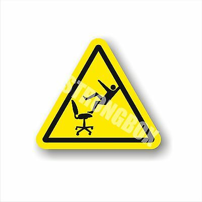 Office Safety Decal Sticker caution FALLING HAZARD OFFICE CHAIR  warning label