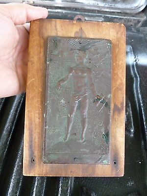 1930'S Art Deco Bronze Plaque Of Half Naked Olympian / Greek By Louis Rosenthal