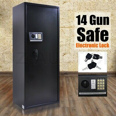 14 Rifle Storage Gun Safe Firearm Security Lockbox Heavy Duty Cabinet Bonus