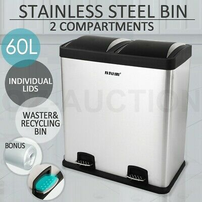 60L Dual Pedal Compartment Stainless Steel Sorted Separated Garbage Rubbish Bin