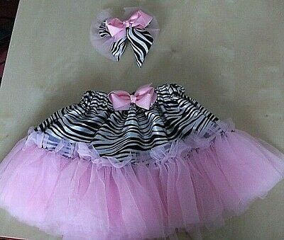 Baby Girl 2 Piece Tutu Skirt/hair Slide Size 6Mths - 4 Years Old Various Colours