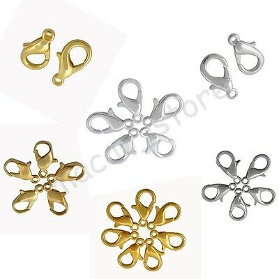 High Quality Gold & Silver Plated Alloy Lobster Clasps Hooks Finding 12 16 20 mm