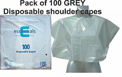 Disposable Shoulder Capes GREY Pack of 100 Polythene Plastic For Hairdressing