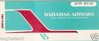 Airline Ticket - Bahamas Airways - 2 Flight - 1970 (T186)