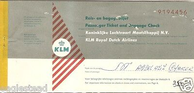 Airline Ticket - KLM - 4 Flight - 1960 (T176)