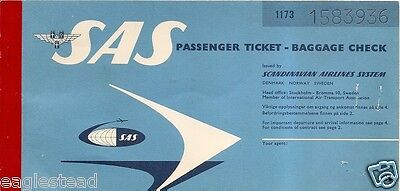 Airline Ticket - SAS - 3 Flight - 1961 (T237)