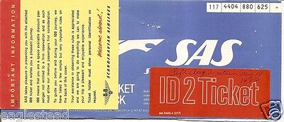 Airline Ticket - SAS - 4 Flight - 1982 - ID2 Sticker (T239)