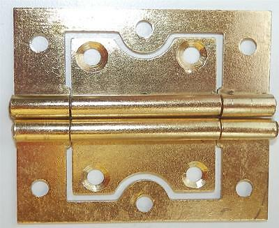 ONE PAIR 60mm FLUSH HINGES BRASS PLATED WITH SCREWS