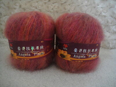 4*50g Skeins Luxury Angola Mohair Cashmere Wool Knitting Yarn Lot;Fine;200g;red