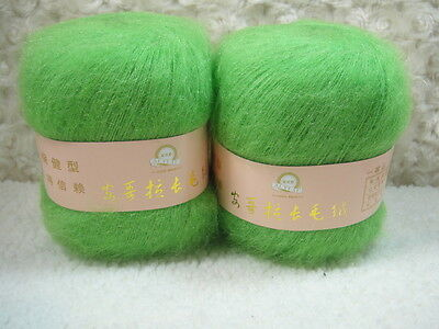 4*50g Skeins Luxury Angola Mohair Cashmere Wool Yarn Lot;Fine;200g;light green