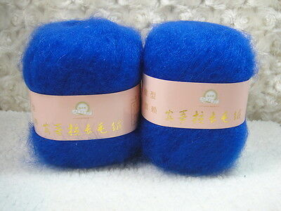 4*50g Skeins Luxury Angola Mohair Cashmere Wool Yarn Lot;Fine;200g;Sapphire blue