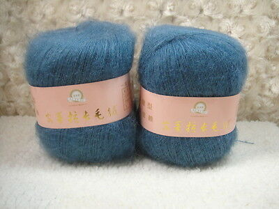 4*50g Skeins Luxury Angola Mohair Cashmere Wool Knitting Yarn Lot;Fine;200g;blue