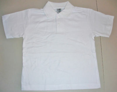 NEW school uniform polo shirt unisex White size 5,6,8,10,12,14,16