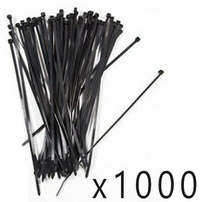 "1000 Pack Lot Pcs - 8"" Inch UV Resistant Nylon Cable Zip Wire Tie 50 lbs - Black"
