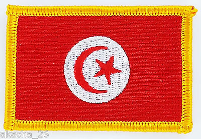 Patch Ecusson Brode Drapeau Tunisie Insigne Thermocollant Neuf Flag Patche