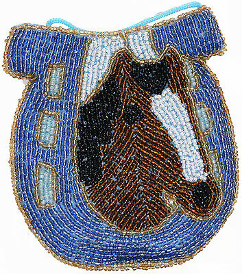 Horse Head Horse Shoe Beaded Ladies Coin Purse Cross Body Strap