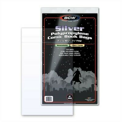 100 BCW RESEALABLE Silver Thick Comic Book Poly Bags +Acid Free Backer Boards