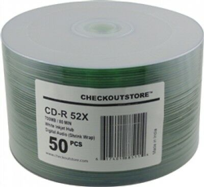 600 CheckOutStore 52x Digital Audio Music CD-R 80min 700MB White Inkjet Hub