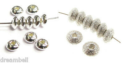 Sterling Silver Round Seamless Plain / Stardust Saucer Spacer 3.5mm 4mm 5mm 6mm