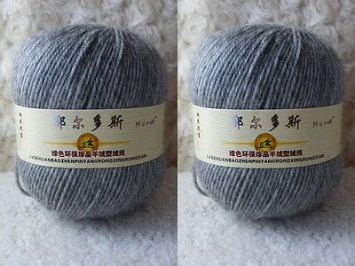 2*100g Soft Skeins Cashmere Wool Knitting Yarn Lot;Worsted;200g;Grey;949