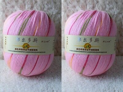 2*100g Soft Skeins Cashmere Wool Knitting Yarn Lot;Worsted;200g;Pink Mixed916