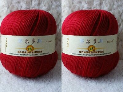 2*100g Soft Skeins Cashmere Wool Knitting Yarn Lot;Worsted;200g;Red;242
