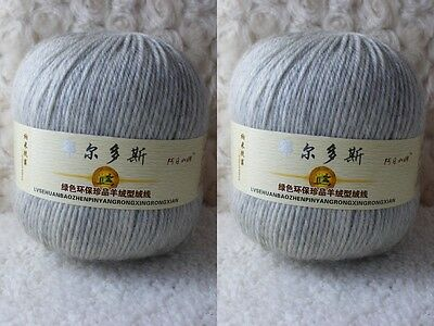 2*100g Soft Skeins Cashmere Wool Knitting Yarn Lot;Worsted;200g;Light Grey950