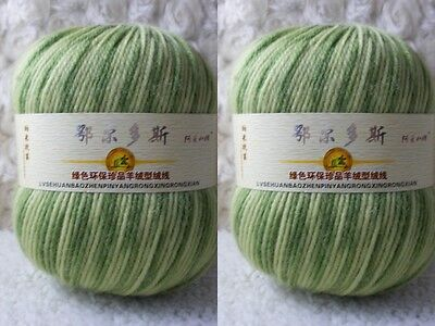 2*100g Soft Skeins Cashmere Wool Knitting Yarn lot; Worsted;200g;GreenYellow;915