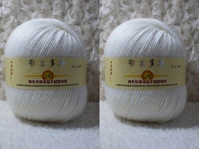 2*100g Soft Skeins Cashmere Wool Knitting Yarn Lot;Worsted;200g;MilkyWhite;00
