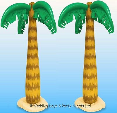 "2 Inflatable 34"" Blow Up Palm Tree Hawaiian Tropical Pool Beach Party Decoration"