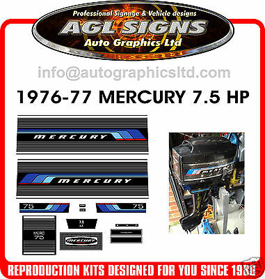1976 -1977  MERCURY 7.5  OUTBOARD DECALS , 75 hp reproductions