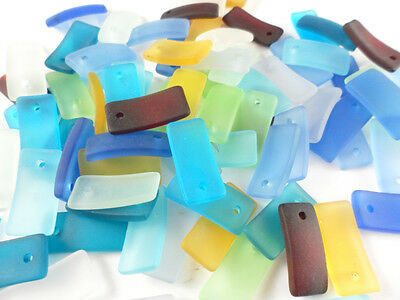 6 Sea Glass 22x10mm Curved Rectangle Pendant Beads You Pick Color