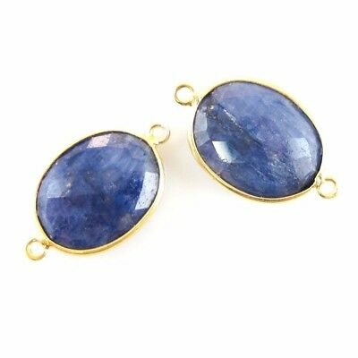 Bezel Gemstone Connector - 14x18mm Faceted Oval - Dyed Blue Sapphire (2 Pcs)