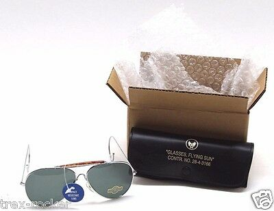 Repro US Army Aviator Green Sunglasses plastic with round ear pieces and Case
