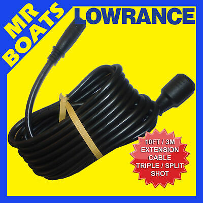 LOWRANCE 10ft TRANSDUCER EXTENSION CABLE HOOK2 - SPLITSHOT TRIPLESHOT -FREE POST