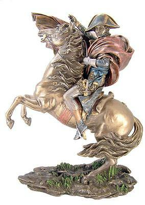 """French Leader Napoleon on Horse Crossing St Bernard Pass 12"""" Bronze Color Statue"""