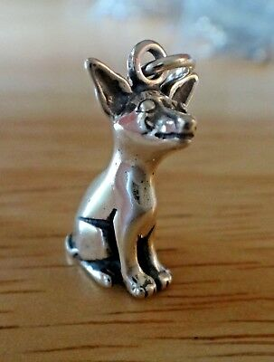 Sterling Silver 3D 19x10mm Detailed Sitting Chihuahua Dog Charm!