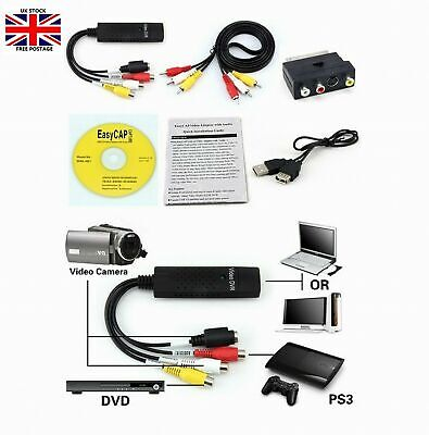 USB 2.0 to 3 RCA Audio S-Video TV VHS DVD+ RW Capture Converter Adapter Cable UK