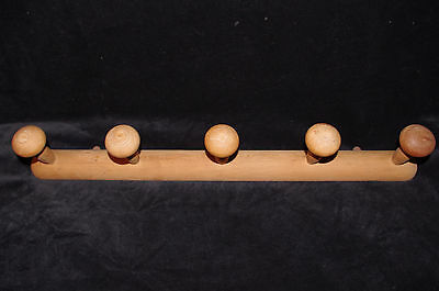 "Large Authentic French Vintage Wooden Faux Bamboo Coat Hat 5 Hooks Racks 25""1/3"
